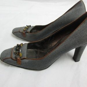 J.Crew Gray and Brown High Heel Shoes